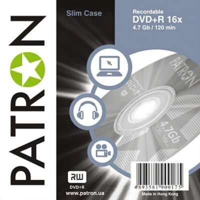 Диск DVD R PATRON PRINTABLE 4,7Gb, 16-скоростные, slim